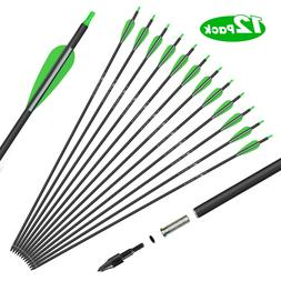 12 Pack Archery Carbon Hunting Arrows 30 inch for Compound &