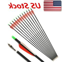 "12PCS 30"" Archery Carbon 7.8mm Screws Tips Arrows Fit Compou"