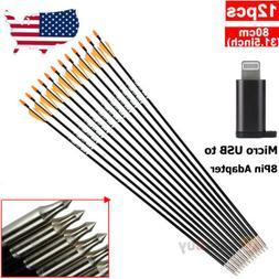 """12pcs 33"""" Target Practice Archery Carbon Fiber Arrows for Co"""