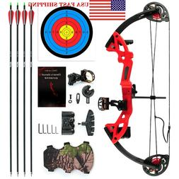 MAK 15-29lbs Teen Compound Bow Set w/ Bow Sight Arrow Armgua