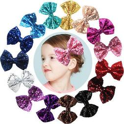 "15pcs Bling Sparkly Glitter Sequins Big 4"" Hair Bows Alligat"