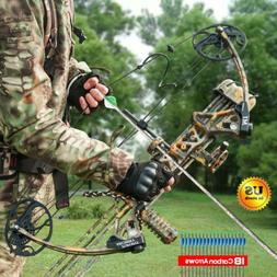 19-70lbs Compound Bow Package Kit Carbon Arrows Set Target H