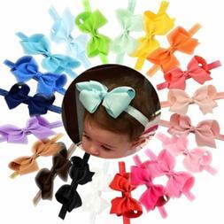 20pcs Baby Girls Solid Ribbon Hair Bows Headbands Big Bow Ha