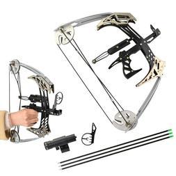 "25lbs Mini Compound Bow Set 14"" Triangle Bow Arrows Archery"