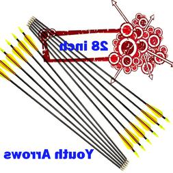 "28""  Fiberglass Arrows Compound Bow Youth Archery Recurve Bo"