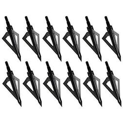 12 Pack 3 Blades Archery Hunting  Broadheads 100 Grain Screw