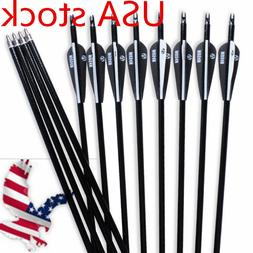 "30"" Fiberglass Arrows SP500 Hunting Archery For Recurve/Comp"
