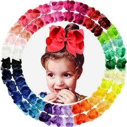 30pcs 6in Grosgrain Ribbon Big Hair Bows Alligator Clips for