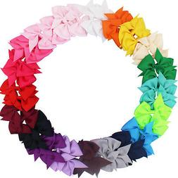 40 Pcs Lots Boutique Baby Girls Hair Bows Kids Alligator Hai