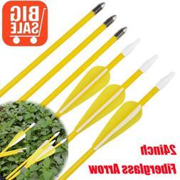 6pcs 24inch Youth Fiberglass Arrow Archery For Recurve Compo