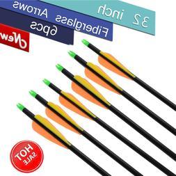 """6pcs 32"""" Archery Arrow Fiberglass Arrows Nocks Fletched Targ"""