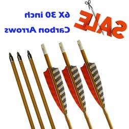 "6X 30"" Target Carbon Arrows SP600 Feather Fletching for Recu"