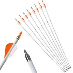 6X 31'' Hunting Carbon Arrows White Archery For Target Recur
