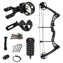 iGlow 30-55 lbs Black Archery Hunting Compound Bow with Prem