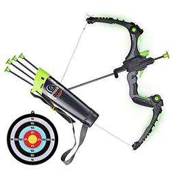 SainSmart Jr. Kids Bow and Arrows, Light Up Archery Set for