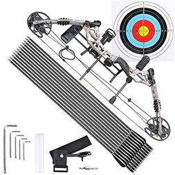 Camouflage Archery Compound Bow Right Hand Kit w/12 Carbon A