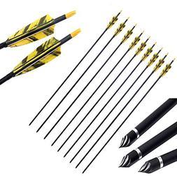PG1ARCHERY 30 Inch Carbon Arrows with 4 Inch Shield Turkey F