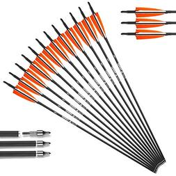 XGeek 30in Carbon Arrows Shafts,Practice Arrows for Target S