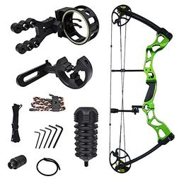 iGlow 40-70 lbs Green Archery Hunting Compound Bow with Prem