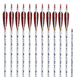 ZHANYI Hunting Archery Carbon Arrows 340 Spine Shaft Fletchi