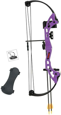 Kids Youth Right Handed Brave Bear Purple Bow and Arrows Arc