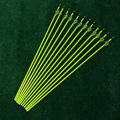 "6Pcs Archery Arrow Hunter 33"" Fletched Arrows Fiberglass Tar"