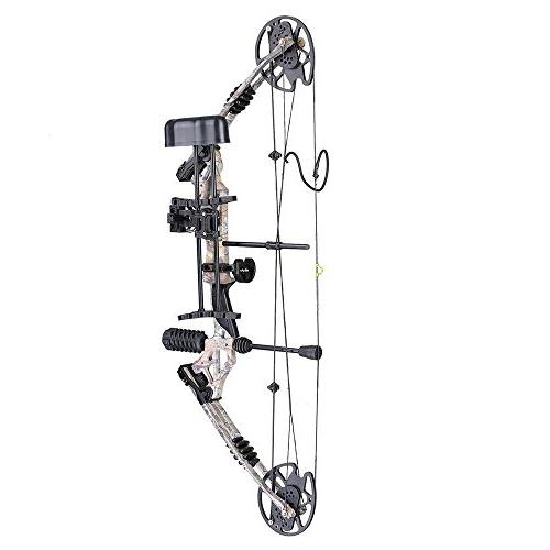 Camouflage Archery Compound Right Hand Kit w/12 Carbon Arrows Fiberglass Adjustable Hunting Practicing