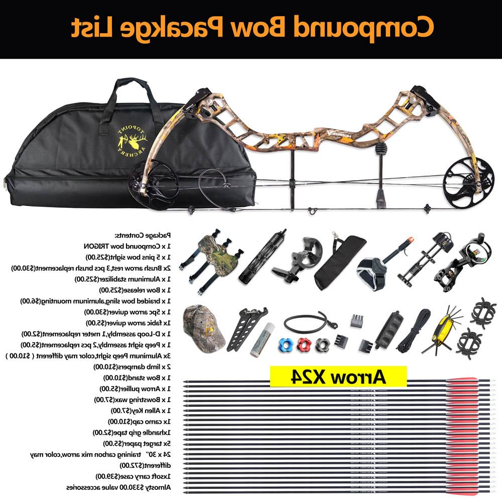 Complete <font><b>Compound</b></font> <font><b>Bow</b></font> <font><b>Package</b></font> Set 19-70lbs Aluminum Adjustable Kit Archery Hunting