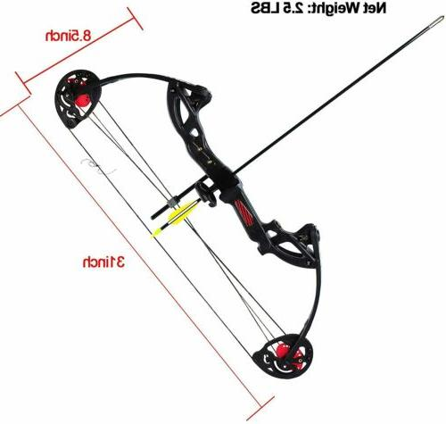 """Teens Compound Right Bow Kit W/30""""Archery Target Hunting Set"""