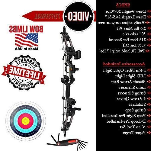 RAPTOR Kit: USA adjustable 24.5-31 30-70 pull 315 FPS & 100% GUARANTEE  5 Pin BLACK