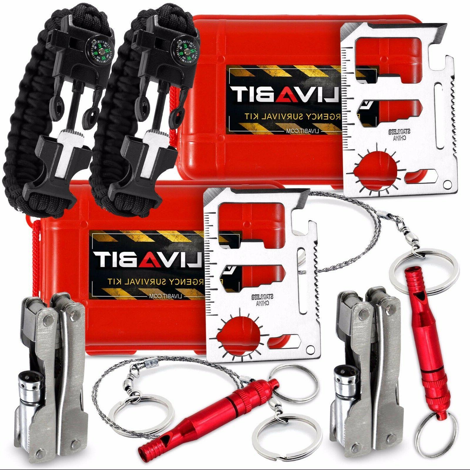2x LIVABIT Survival Kit Emergency SOS Survive Multi Tool Pac
