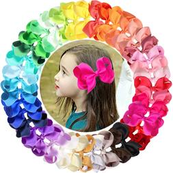 40 Colors/Set Ribbon 4 Inches Hair Bows Alligator Clips for