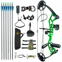 M2 Green Youth Compound Bow Set 2.54 lbs 290fps IBO For Begi
