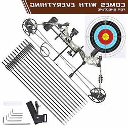 20-70lbs Pro Compound Right Hand Bow Kit Archery Arrow Targe