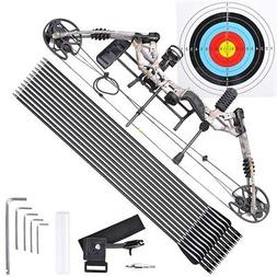 20-70lbs Pro Compound Right Hand Bow Kit Arrow Archery Targe