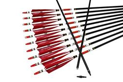 TTAD 12PCS Red Turkey Feather 31 inches Carbon Arrows Replac