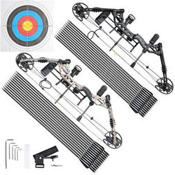 Right Hand Compound Bow Kit Carbon Arrows Set 20-70lbs Targe