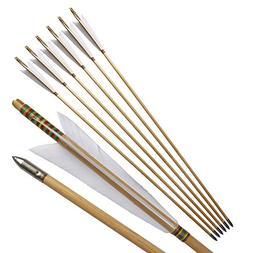 Traditional European Style Wooden Arrow Turkeys Feather Colo