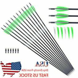 """US 12/24/48× 30"""" Carbon Arrows Spine 600 Removable Tips For"""