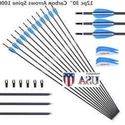 US 12PCS 30inch Practice Archery Carbon Arrows Spine 1000 F