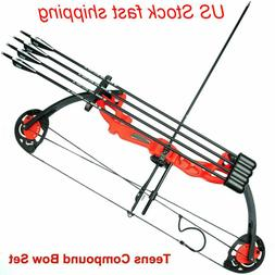 "US 19""-28"" Teens Compound Bow Set with Arrows for Practice H"