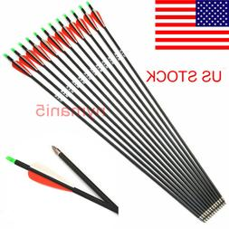 "US 6Pcs 30"" 7.8mm SP500 Carbon Shaft Arrows Fit Compound Bow"