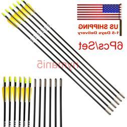 """US 6pcs 31"""" Fiberglass Shaft Arrows for Compound Bows Archer"""