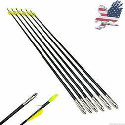 US 6Pcs Archery 31'' Fiberglass Arrows Target Practice For C
