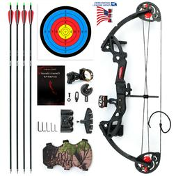 US MAK Teens Compound Bow Set Draw 15-29lbs with 4pcs Arrows