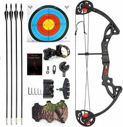 Youth Compound Bow Arrow Set 15-29lbs Archery Bow Sight Targ